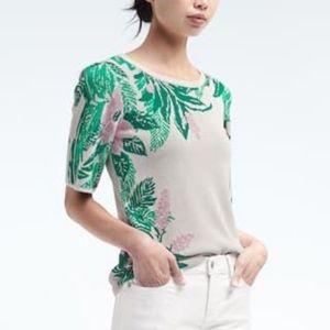 BANANA REPUBLIC Jacquard Floral Knit Top